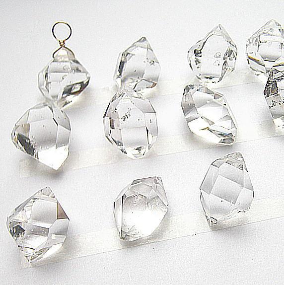 高品質 ハーキマーダイヤモンド 大粒15mm K10ソリテールチャーム