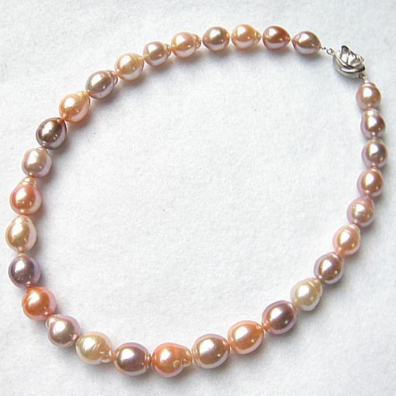 天然色 ピンク オレンジ MIXバロック SV淡水真珠ネックレス 43-45cm【神戸ジュエリーフェア】