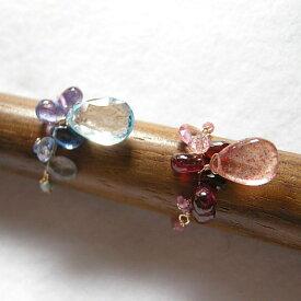 天然石ビジュ−ブーケ K10編み編みリング【マイカクォーツ ブルートパーズ】サマーセール