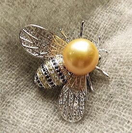 南洋真珠 有核淡水真珠 虫 ムーン お花ひと粒ブローチ