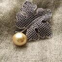南洋真珠ブローチ 虫 ムーン お花 植物デザイン 母の日 贈り物