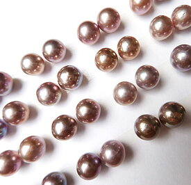 天然色パープル 有核淡水真珠 9.0-9.5mm 片穴ペアルース ピアス イヤリング用