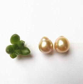 美しいフィリピン産 ゴールド白蝶真珠 バロック 9mm ペアルース(裸石) ペンダント・ピアス用