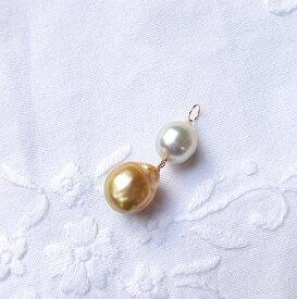 白蝶真珠 ゴールデン ホワイト K10色対比チャーム ペンダント・ピアス用 ジュエリー jewelry アクセサリー accessory ゴールドアクセサリー チャーム 宝石 天然石 ファッション 大人コーデ プレゼント ギフト 贈り物 自分へのご褒美 きれい