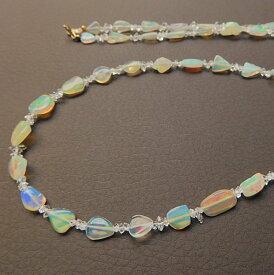 エチオピア産オパール 美しい遊色 K10ナゲットネックレス 60cm ハーキマーダイヤモンド