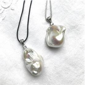 オイスターバロック淡水真珠 SV バチカンCZ入りペンダント 人気のバロック淡水貫通穴ピース