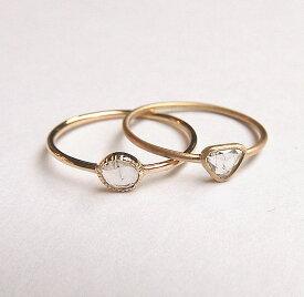 ローズカット ダイヤモンドリング K10 手巻きリング Ring 0.10ct前後 ホワイトダイヤ 【豊穣フェスタ限定】