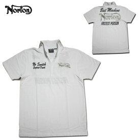 Norton ポロシャツ スキッパー ポロ WHT ホワイト 72N1208 【 2017 ポロシャツ / ノートン ポロシャツ / メンズ / バイカー / バイク 刺繍 / あす楽 】