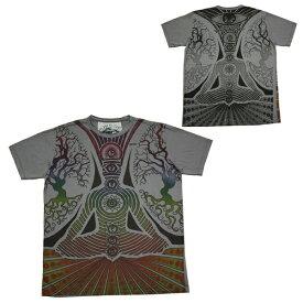 エスニックTシャツ 瞑想 メディテーション GRY bk053 グレー 【 メンズ ファッション / ストリート / アジアン / ヨガ / ヒッピー / サイケ / メール便可 /あす楽 】