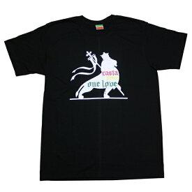 ラスタTシャツ ONELOVE BLK ブラック bk070 【 メンズ Tシャツ / ラスタ レゲエ / REGGAE / RASTA / ダンス / HIPHOP / レゲエ ファッション / ストリート / スケーター / サーフ / メール便可 / あす楽 】