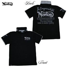 Norton ポロシャツ LIMITED ポロ 192N1250 ブラック BLK 【 2019 ポロシャツ / ノートン ポロ / メンズ 半袖 グレンチェック / バイカー / バイク / メール便可 / あす楽 】