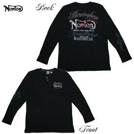 Norton 長袖Tシャツ ワッフルヘンリー 201N1103 BLK ブラック 【 2020 長袖Tシャツ / ノートン ロンT / メンズ 長袖 サーマル / バイカー / バイク / あす楽 】