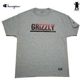 GRIZZLY Tシャツ x Champion GRIZZLY STAMP FADEAWAY S/S TEE G.H vigr20125 グレー 【 2020 グリズリー チャンピオン Tシャツ / メンズ コラボ Tシャツ /スケーター スケボー スケートボード/ B系 / メール便可 / あす楽 】