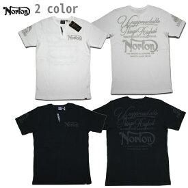 Norton サーマルTシャツ サーマル Yネック ヘンリー202N1007 ブラック ホワイト 【 2020 サーマル Tシャツ / ノートン 半袖 / メンズ / バイカー / バイク /メール便可 あす楽 】