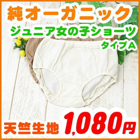 ジュニア 女の子 天竺生地ショーツ ・タイプA 120 130 140 150cm オーガニックコットン 日本製 きなり/ブラウン