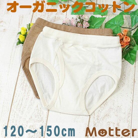 ジュニア ブリーフ 男の子 天竺生地ブリーフパンツ 120 130 140 150cm オーガニックコットン パンツ 日本製下着 Junior brief pants 綿100% きなり/ブラウン