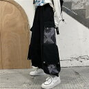 パンツズボン切り替えバイカラー配色体型カバーヴィンテージ風レトロ調ユニセックス男女兼用原宿系ファッション韓国風ダンス衣装POPカワ個性奇抜かわいい青文字系ボトムスレディース