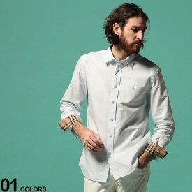 BURBERRY (バーバリー) 綿100% 胸ロゴ 長袖 オックスフォードシャツ SAXEブランド メンズ 男性 トップス シャツ 長袖 無地 コットン シンプル 無地 レギュラーカラー BB8024515