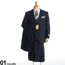 大きいサイズ メンズ Nature Code (ネイチャーコード) ストレッチ ウール混 ピンストライプ シングル 2ツ釦 ワンタック 2パンツ スーツ NAVY スーツ シングルスーツ ストレッチ 伸縮 紳士 ウール ツーパンツ 背抜き 5120168NT