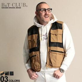 大きいサイズ メンズ B&T CLUB (ビーアンドティークラブ) メッシュ切り替え ポケット フルジップ カジュアルベスト アウター ジレ ベスト メッシュ ノーカラー 作業着 涼しい 春 BT761914Z