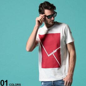 MONCLER (モンクレール) 綿100% BOXロゴプリント クルーネック 半袖 Tシャツブランド メンズ 男性 トップス Tシャツ 半袖 シャツ プリント クルー プリントT コットン 春 夏 MC8C705108390T