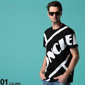 MONCLER (モンクレール) 綿100% BIG斜めロゴプリント クルーネック 半袖 Tシャツ BLACKブランド メンズ 男性 トップス Tシャツ プリントT クルー 半袖 春夏 プリント コットン MC8C706108390T