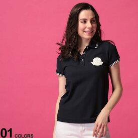 MONCLER (モンクレール) 綿100% ビッグマーク ライン 半袖 ポロシャツブランド レディース トップス シャツ ポロシャツ ポロ 春 夏 コットン シンプル 半袖 MCL8A70400V8003