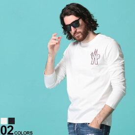 MONCLER (モンクレール) 綿100% Mマークワッペン クルーネック 長袖 Tシャツブランド メンズ 男性 トップス Tシャツ ロンT 長袖 シャツ コットン クルー シンプル 無地 MC8D701208390T