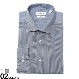 Calvin Klein (カルバン クライン) ストレッチ ノーアイロン ホリゾンタルカラー 長袖 ドレスシャツ SLIM FITブランド メンズ 男性 紳士 ビジネス シャツ ワイシャツ フォーマル 長袖シャツ きれいめ CK33K3767