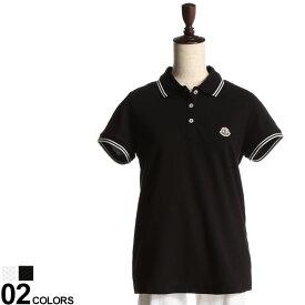 MONCLER (モンクレール) 綿100% 襟袖ライン ワンポイント 半袖 ポロシャツブランド レディース トップス シャツ ポロシャツ ポロ 春 夏 コットン シンプル 半袖 MCL8A7020084667