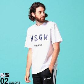 P5倍 MSGM (エムエスジーエム) 綿100% ロゴプリント クルーネック 半袖 Tシャツブランド メンズ 男性 トップス Tシャツ 半袖 シャツ プリント 春 夏 コットン シンプル MS2840MM97