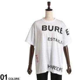 BURBERRY (バーバリー) 綿100% ホースフェリープリント クルーネック オーバーサイズ 半袖 Tシャツブランド レディース トップス Tシャツ プリントT コットン 春 夏 プリント BIGサイズ シンプル BBL8017103