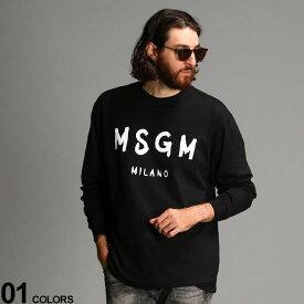 MSGM (エムエスジーエム) 綿100% ロゴプリント クルーネック 長袖 Tシャツ BRUSH STROKESブランド メンズ 男性 トップス Tシャツ ロンT 長袖 シャツ コットン クルー プリント リブ袖 MS2940MM105
