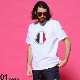 MONCLER (モンクレール) トリコロールマーク クルーネック 半袖 Tシャツブランド メンズ 男性 トップス Tシャツ 半袖 シャツ プリント クルー 春 夏 コットン MC8C7B4408390T