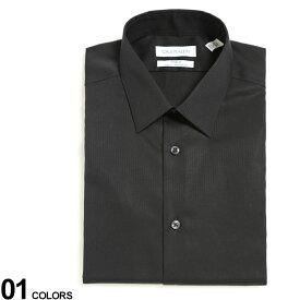 Calvin Klein (カルバンクライン) レギュラーカラー 長袖 ドレスシャツ SLIMブランド メンズ 男性 紳士 ビジネス ワイシャツ Yシャツ フォーマル ブラックシャツ 黒 CK33K2479
