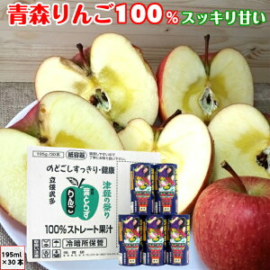 葉とらず りんごジュース 津軽の祭り カートカン 195 30本 送料無料 青研 青森産 100%ストレート果汁 無添加 リンゴジュース