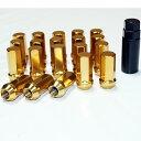 速達同等 レーシング 45mm スチール ホイールナット P1.5 P1.25 17HEX 20個 セット 専用ソケット付き ゴールド 金