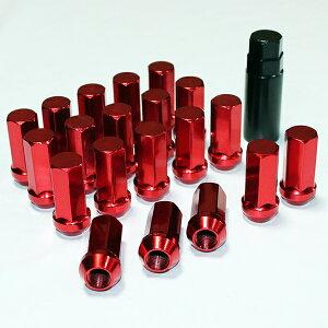 レーシング 45mm スチール ホイールナット P1.5 P1.25 17HEX 20個 セット 専用ソケット付き レッド 赤