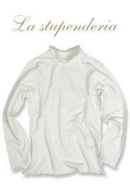La stupenderia [ラ ストゥペンデリア] レースハイネックTシャツ 1歳(80cm)~ 2歳(92cm)子ども 長袖 Tシャツ レース ハイネック イタリア製
