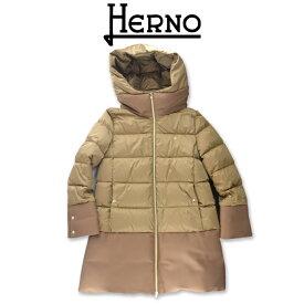 NEW!【2021FW】HERNO KIDS(ヘルノ キッズ) 異素材ミックス ダウンコート キャメル 14A【14歳】