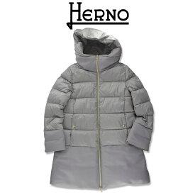 NEW!【2021FW】HERNO KIDS(ヘルノ キッズ) 異素材ミックス ダウンコート シルバーグレー 14A【14歳】