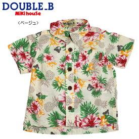 【セール30%OFF】【メール便送料無料】【DOUBLE B ダブルビー】トロピカル柄☆半袖シャツ(80cm・90cm)ミキハウス