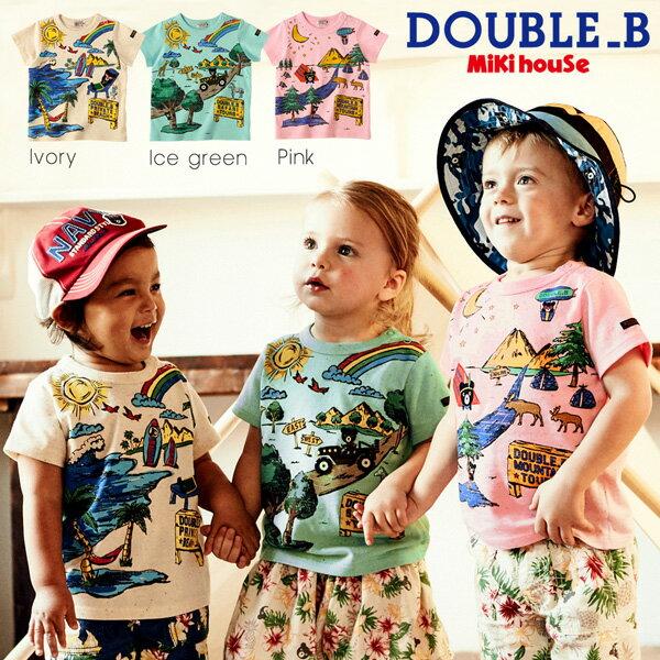 【セール30%OFF】【メール便OK】【DOUBLE B ダブルビー】リゾートプリント♪半袖Tシャツ(120cm・130cm)ミキハウス