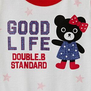 【メール便送料無料】【DOUBLEBダブルビー】デニムロゴプリントの半袖Tシャツ(80cm・90cm)ミキハウス