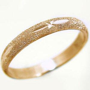 ピンクゴールドk18 スターダスト加工 ペアリング 結婚指輪 ピンキーリングにおすすめ K18pg 指輪