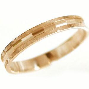 ピンクゴールドk10 ダイヤカット加工 ペアリング 結婚指輪 ピンキーリングにおすすめ K10pg 指輪