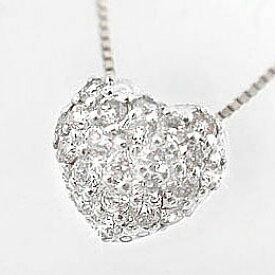 ハート:パヴェ:ダイヤモンド:ネックレス/プラチナ900:ダイヤネックレス:ハート:ペンダント/Pt900ネックレスダイヤ0.2ct
