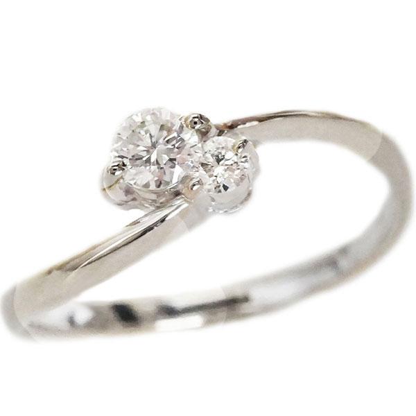 婚約指輪 ホワイトゴールドk18 指輪 ダイヤ 0.13ct エンゲージリング K18wg【送料無料】