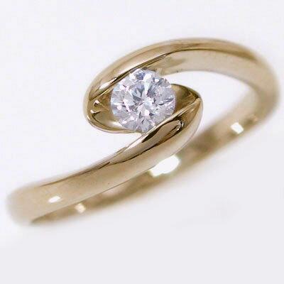 婚約指輪 エンゲージリング ダイヤモンド 0.2ct G SI2 Good 鑑定書付 ピンクゴールドK18 ダイヤリング K18pg【送料無料】