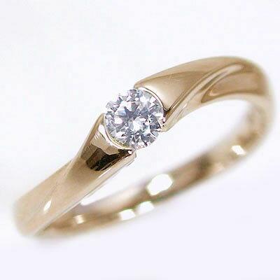 婚約指輪 エンゲージリング ダイヤモンド 0.2ct G SI2 Good 鑑定書付 ピンクゴールドk18 ダイヤリング K18 ブライダル【送料無料】